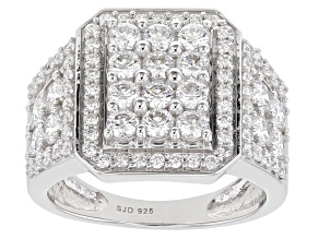 Pre-Owned White Cubic Zirconia Rhodium Over Sterling Silver Ring 3.35ctw