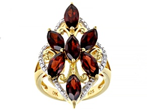 Pre-Owned Red Garnet 18k Yellow Gold Over Sterling Silver Ring 3.58ctw
