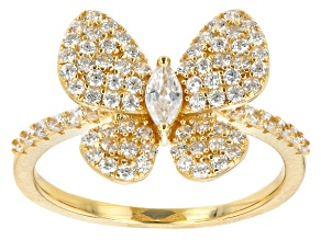 Pre-Owned White Cubic Zirconia 18K Yellow Gold Over Sterling Silver Butterfly Ring 1.33ctw