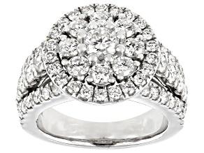 Pre-Owned White Diamond 10K White Gold Cluster Ring 3.00ctw