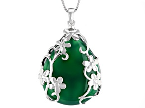 Pre-Owned Green onyx silver enhancer with chain