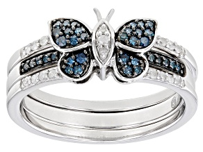 Pre-Owned Blue And White Diamond Rhodium Over Sterling Silver Butterfly Ring With Matching Band 0.25