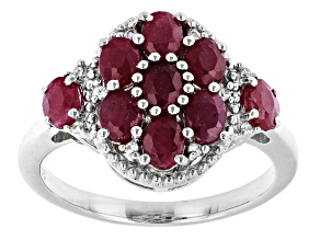 Pre-Owned Red Ruby Rhodium Over Sterling Silver Ring 2.71ctw