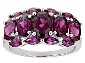 Pre-Owned Purple Rhodolite Rhodium Over Sterling Silver Ring. 3.73ctw