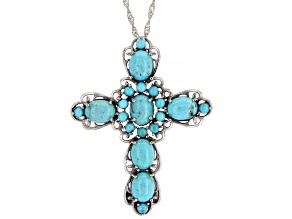 Pre-Owned Blue Turquoise Rhodium Over Silver Pendant With Chain