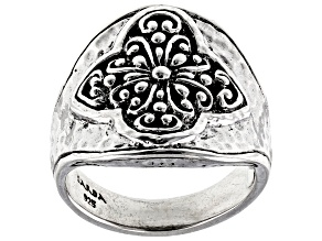 """Pre-Owned Sterling Silver """"Prayer Changes Things"""" Dome Ring"""