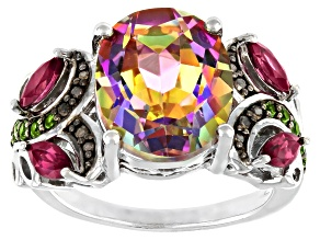 Pre-Owned Multi Color Quartz Rhodium Over Sterling Silver Ring 4.31ctw