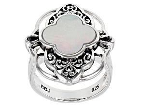 Pre-Owned Mother-of-Pearl Sterling Silver Filigree Design Ring