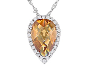 Pre-Owned Champagne And White Cubic Zirconia Rhodium Over Sterling Silver Pendant With Chain 9.62ctw