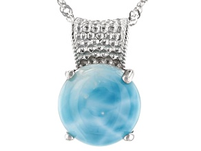 Pre-Owned Blue Larimar Rhodium Over Silver Pendant With Chain
