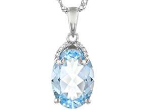 Pre-Owned Blue Topaz Rhodium Over Sterling Silver Pendant With Chain 6.42ctw