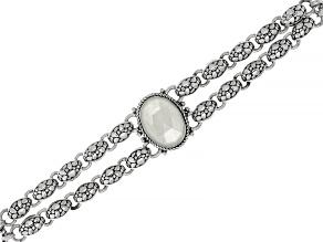 Pre-Owned White Moonstone Sterling Silver Bracelet