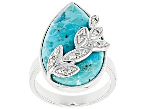 Pre-Owned Blue Turquoise Rhodium Over Sterling Silver Ring 0.04ctw