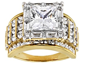 Pre-Owned White Cubic Zirconia 18K Yellow Gold Over Sterling Silver Ring 8.60ctw
