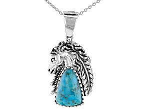 Pre-Owned Blue Turquoise Rhodium Over Silver Horse Enhancer With Chain