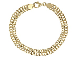 Pre-Owned 18K Yellow Gold Over Sterling Silver 7.50MM Domed Infinity Link Bracelet