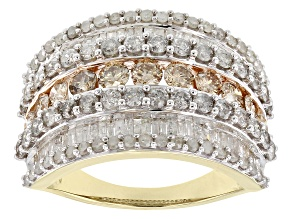 Pre-Owned Champagne And White Diamond 10k Yellow Gold Ring 2.68ctw
