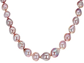 Pre-Owned Lavender Color Cultured Kasumiga Pearl Rhodium Over Sterling Silver 18 Inch Strand Necklac