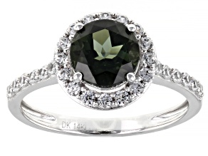 Pre-Owned Green Tourmaline Rhodium Over 14k White Gold Ring 1.77ctw