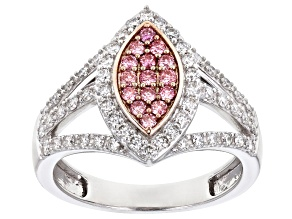 Pre-Owned Pink And White Lab-Grown Diamond 14K White Gold Cluster Ring 0.73ctw