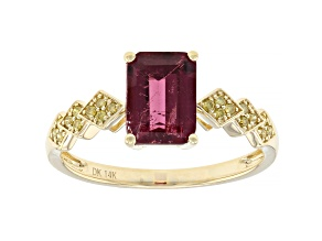 Pre-Owned Pink rubellite 14k yellow gold ring 1.30ctw