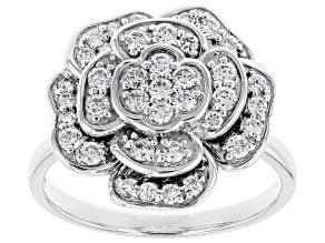 Pre-Owned White Lab-Grown Diamond 14K White Gold Flower Cluster Ring 0.67ctw