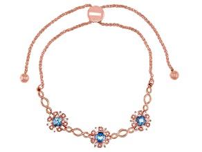 Pre-Owned London Blue Topaz With Diamond 14k Rose Gold Bolo Bracelet 1.16ctw