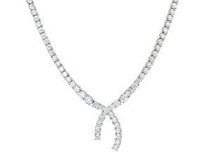 Pre-Owned White Cubic Zirconia Rhodium Over Sterling Silver Necklace 31.08ctw