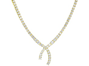 Pre-Owned White Cubic Zirconia 18k Yellow Gold Over Sterling Silver Necklace 31.08ctw