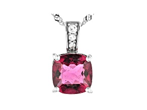 Pre-Owned Pink Rubellite Rhodium Over 14k White Gold Pendant With Chain 1.31ctw