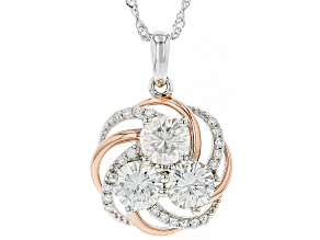 Pre-Owned Moissanite Platineve And 14k Rose Gold Over Platineve Pendant 3.20ctw DEW.