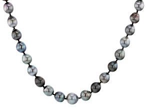 Pre-Owned Multi-Color Cultured Tahitian Pearl 9-12mm Rhodium Over Sterling Silver 18 Inch Strand Nec