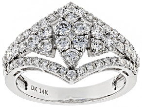 Pre-Owned White Lab-Grown Diamond 14K White Gold Cocktail Ring 1.25ctw