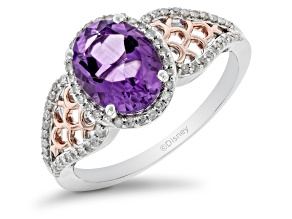 Pre-Owned Enchanted Disney Fine Jewelry Ariel Ring Amethyst and White Diamond Rhodium Over Silver 1.