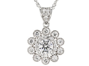 """Pre-Owned White Lab-Grown Diamond 14k White Gold Pendant With 18"""" Singapore Chain 0.70ctw"""