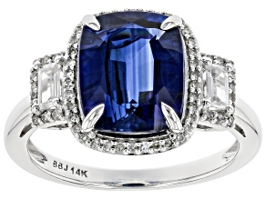 Pre-Owned Blue Kyanite Rhodium Over 14k White Gold Ring 4.24ctw