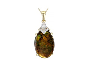 Pre-Owned Brown Ammolite Doublet 14k Yellow Gold Pendant With Chain .23ctw