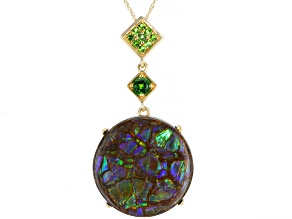 Pre-Owned Brown Ammolite Doublet 14k Yellow Gold Pendant With Chain .20ctw