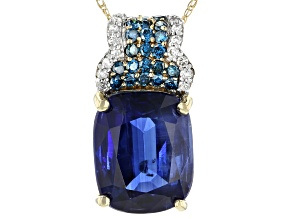 Pre-Owned Blue Kyanite 14K Yellow Gold Pendant With Chain 4.18ctw