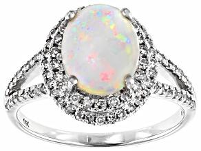 Pre-Owned Multi-Color Australian Opal Rhodium Over 14k White Gold Ring 1.90ctw