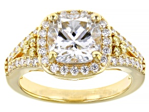 Pre-Owned Moissanite and yellow diamond 14k yellow gold over silver ring 2.84ctw DEW.