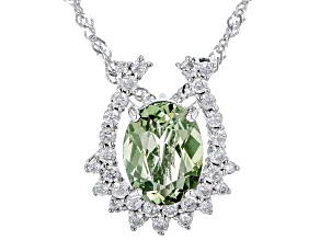"""Pre-Owned Green Tourmaline And White Diamond 14k White Gold Pendant With 18"""" Singapore Chain 1.33ctw"""