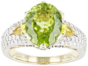 Pre-Owned Green Peridot And Yellow Sapphire With White & Champagne Diamond 14k Yellow Gold Ring 3.93
