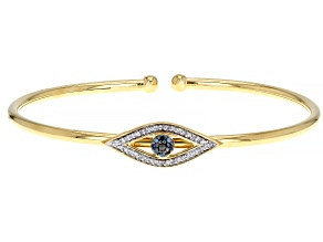 Pre-Owned White, Blue & Black Diamond 14k Yellow Gold Over Sterling Silver Evil Eye Cuff Bracelet 0.