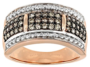 Pre-Owned Champagne Diamond 14K Rose Gold Over Sterling Silver Wide Band Ring 0.50ctw