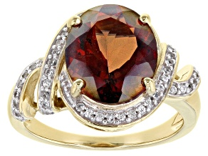 Pre-Owned  Red Labradorite 18K Yellow Gold Over Sterling Silver Ring 3.78ctw