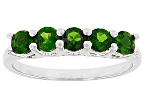 Pre-Owned Green Chrome Diopside Rhodium Over Sterling Silver Ring 0.85ctw