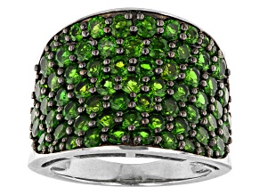 Pre-Owned Green Russian Chrome Diopside Rhodium Over Sterling Silver Ring 3.63ctw