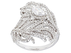 Pre-Owned White Cubic Zirconia Rhodium Over Sterling Silver Leaf Ring 2.16ctw
