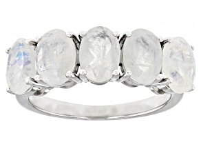Pre-Owned White Rainbow Moonstone Rhodium Over Sterling Silver 5-Stone Band Ring